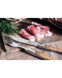 Laguiole 6 steakmessen en 6 vorken Olijfhout