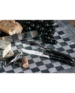 Laguiole 6 steakmessen en 6 vorken Zwart Ebbenhout